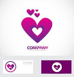 Purple pink heart love logo vector