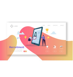 Recruitment job interview concept landing page vector