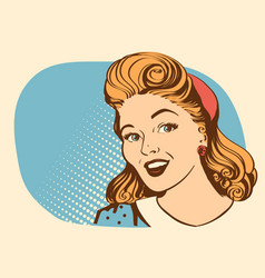retro smiling woman portrait face color retro vector image