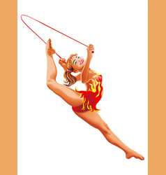 Rhythmic gymnastics rope athletes sportswoman vector
