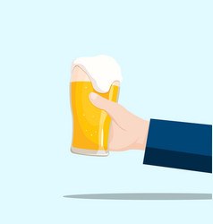 Right hand holding a beer glass on a blue vector