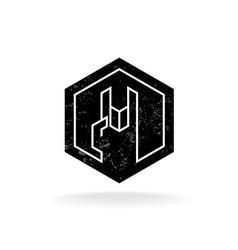 rock hand linear style hex geometric logo vector image