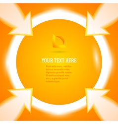 round frame arrows bright orange background vector image