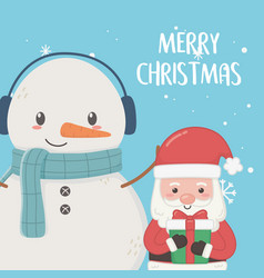 santa claus and snowman with scarf merry christmas vector image