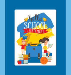 school schoolchild charcater boy girl with vector image