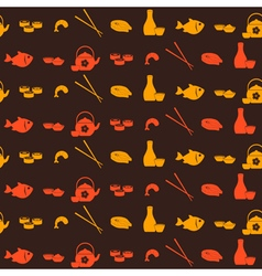 Seamless pattern with sushi and sake icons vector