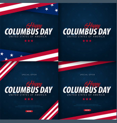 Set of columbus day sale promotion advertising vector
