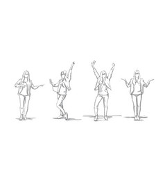 set of sketch business woman silhouettes exited vector image