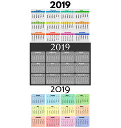 set of three 2019 sunday to monday calendars vector image