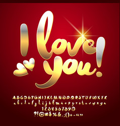 shiny luxury red greeting card i love you vector image