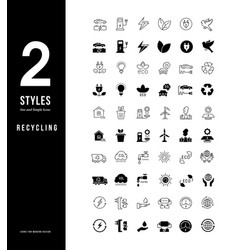 simple line icons recycling vector image