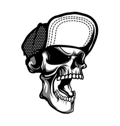 skull wearing hat vector image