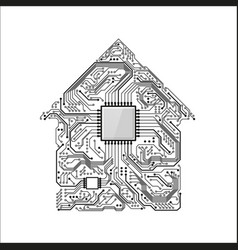 smart home concept circuit house with cpu future vector image