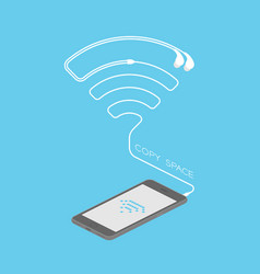 Smartphone black color isometric flat design wifi vector