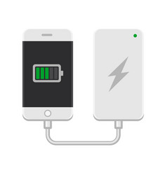 Smartphone with powerbank on white background vector