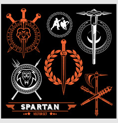 Spartan team logo and emblems - set vector