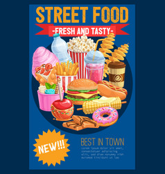 street food advertising banner realistic vector image