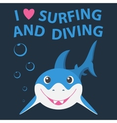 Surfing and diving summer theme with little vector image