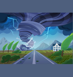 twisting tornado over road destroying civil vector image