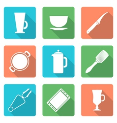 various flat style white dinnerware icons set vector image