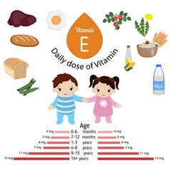 Vitamin e or tocopherol infographic vitamin e or vector