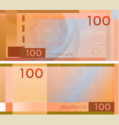 voucher template banknote 100 with guilloche vector image