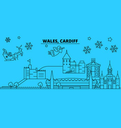 Wales cardiff winter holidays skyline merry vector
