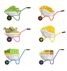 wheelbarrow with money vector image