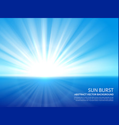 White sun burst in blue sky abstract sunlight vector