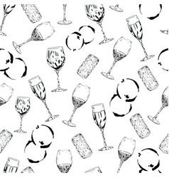 wine glasses cork drink pattern vector image