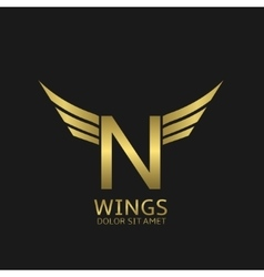 Wings N letter logo vector