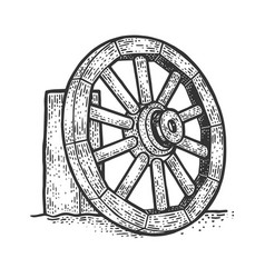 wooden cart wheel sketch vector image