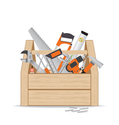 wooden toolbox with repair and construction vector image