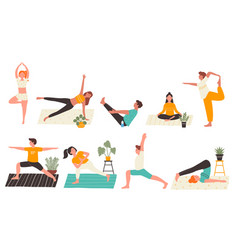 young people in yoga poses set flat vector image