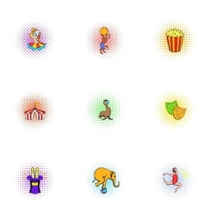 Circus icons set pop-art style vector