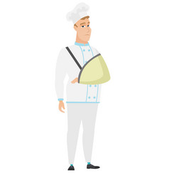 injured chef cook with broken arm vector image vector image