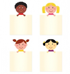 kids with blank banners vector image vector image