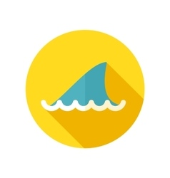 Shark fin flat icon with long shadow vector image
