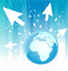 world with arrow around vector image vector image