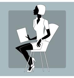 Young woman at a briefing paper sheet vector image