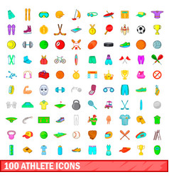 100 athlete icons set cartoon style vector image