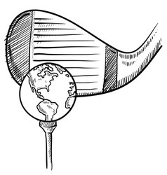 doodle golf globe vector image vector image