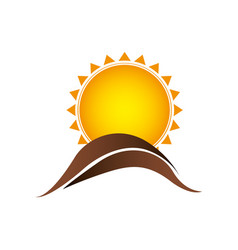color sun with brown mountain icon vector image