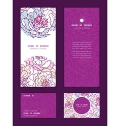 colorful line art flowers vertical frame pattern vector image vector image