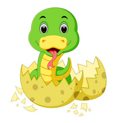 Cute baby snake cartoon vector