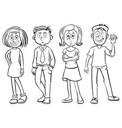 doodles characters for happy men and women vector image vector image