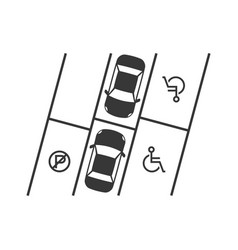 parking lot with disabled sign silhouette design vector image vector image