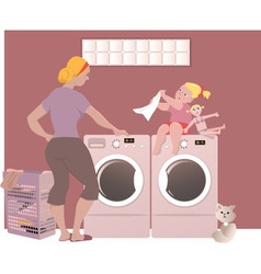 Doing laundry vector image
