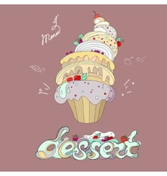 fantastic cakes with dessert menu vector image vector image