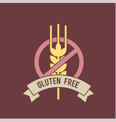 gluten free inscription with stop sign and wheat vector image